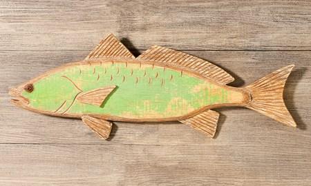 WoodGreenFishWallDecoration