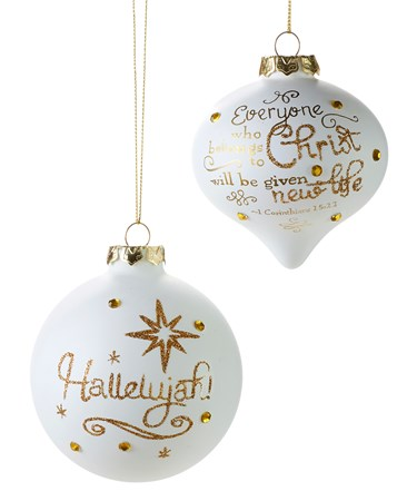 Glass White Sayings Ball Ornament, 2 Asst