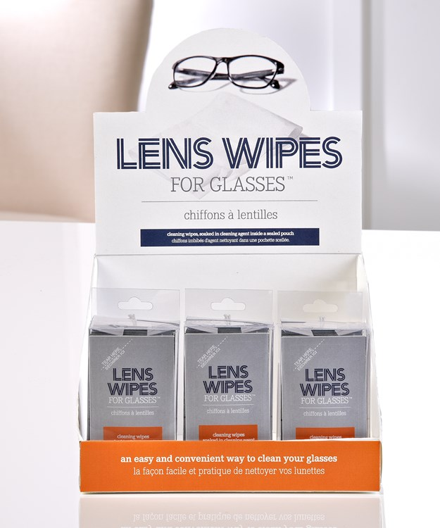 Glasses Wipes Packs w/Displayer