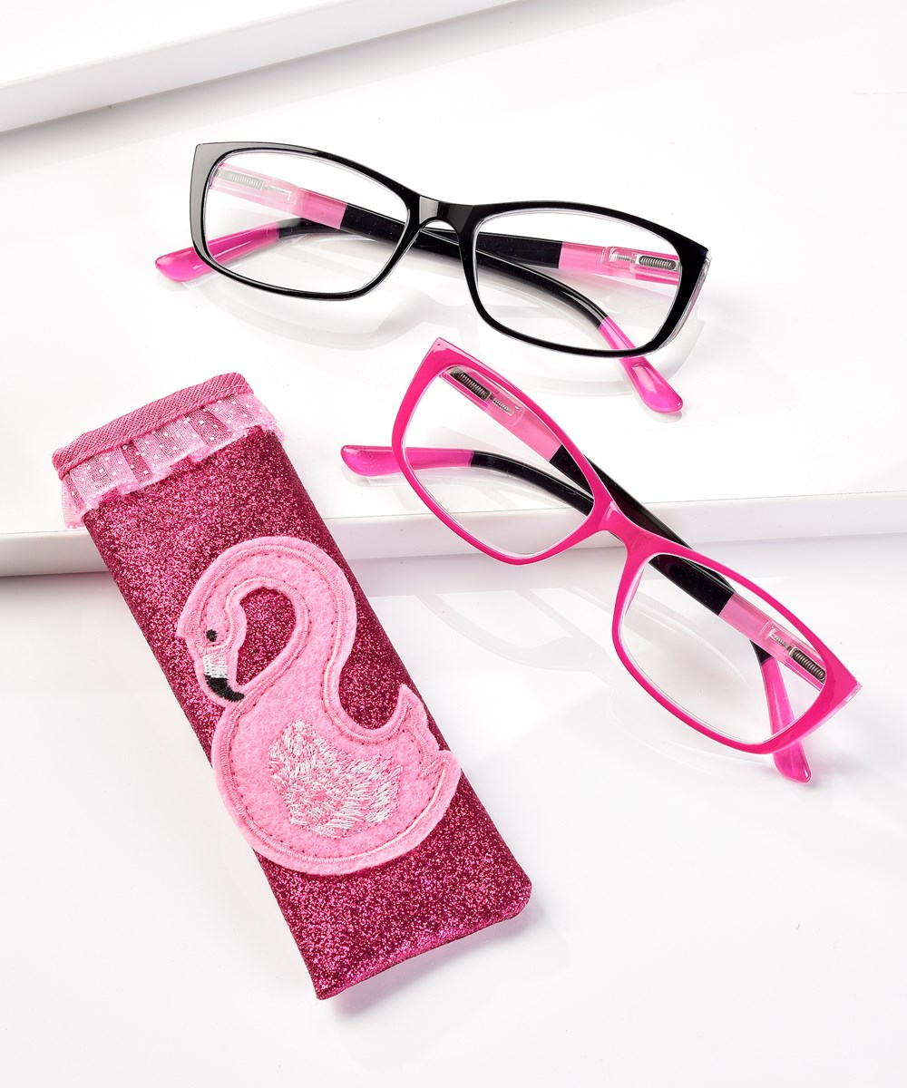 Reader Glasses with Flamingo Pouch w/Displayer