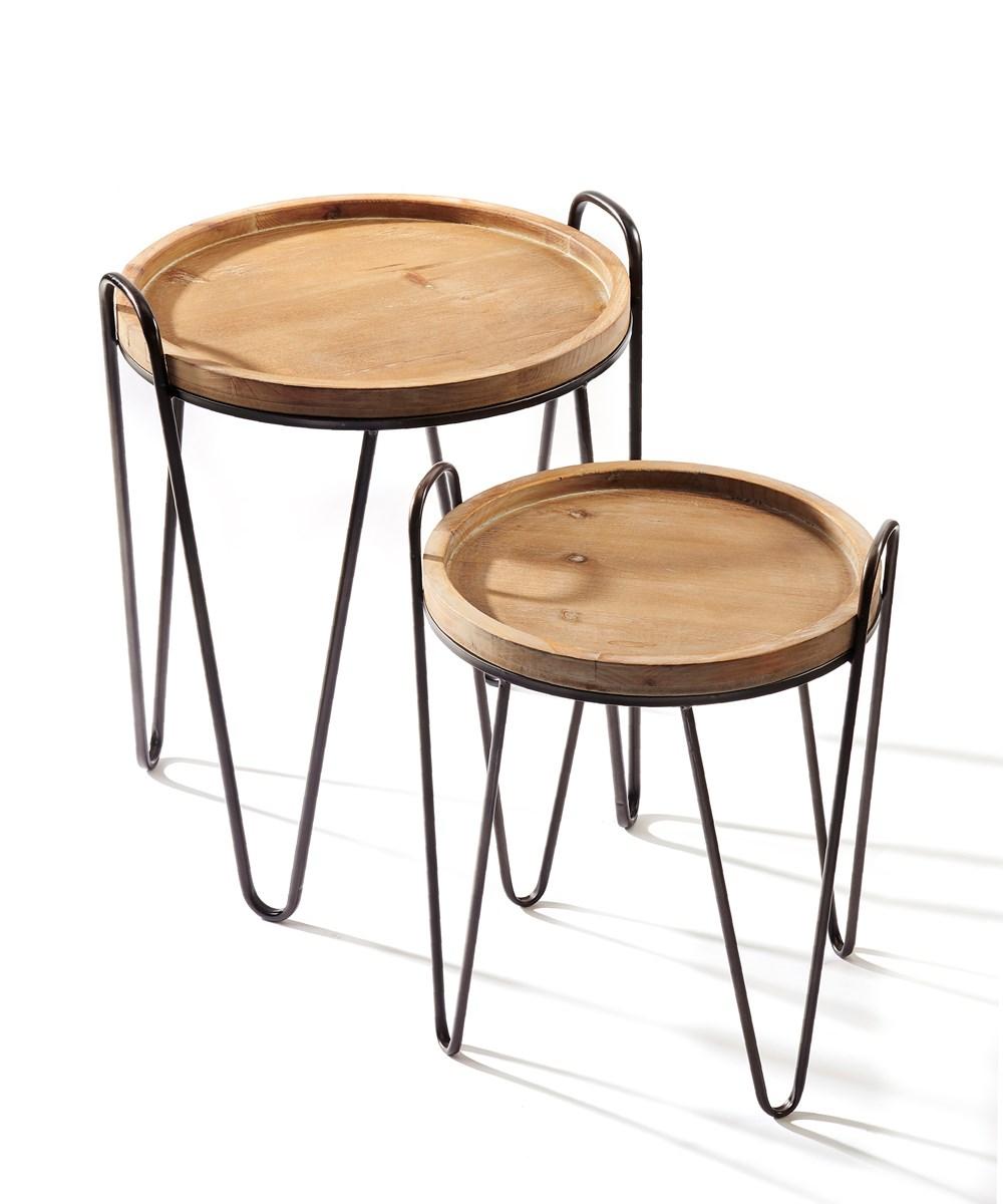 Metal & Wood Side Tables, Set of 2