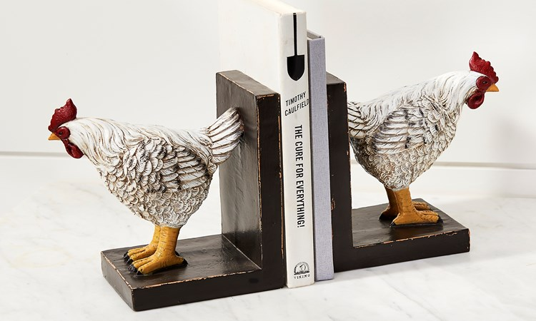 Chicken Bookends, Set of 2