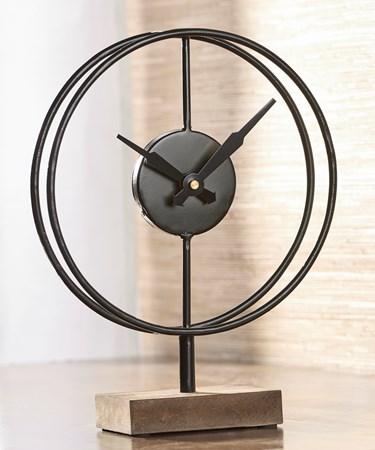 Table Clock w/Wood Base