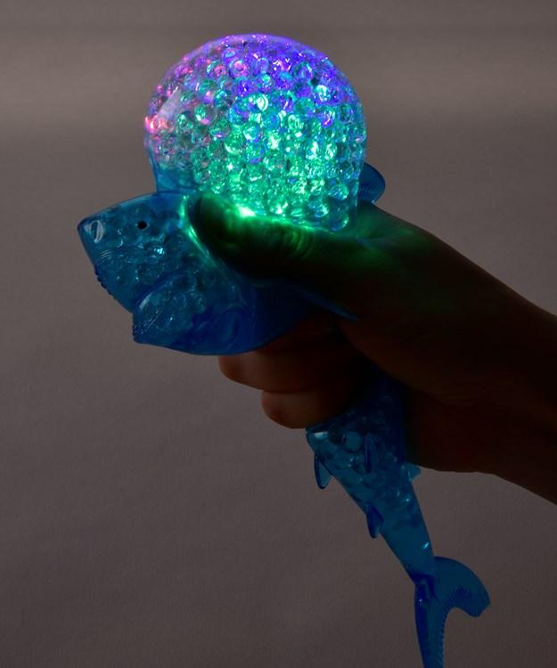 TPR Light-Up Squeeze Beads Shark w/Displayer