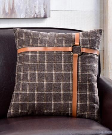 Cushion w/Check Design & Faux Leather