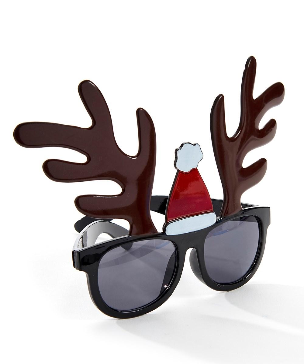 Plycrb.Reindeer Glasses w/Santa Hat