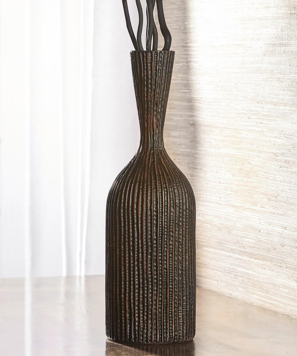 Trumpet Mouth Long Neck Dark Brown Vase