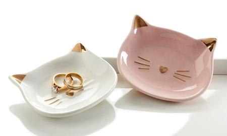 Cat Trinket Dish, 2 Asst.