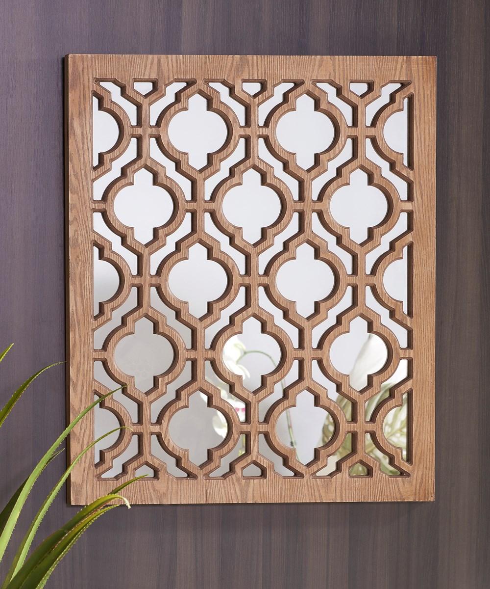 Wood Wall Decor W/Mirror 24x27.5
