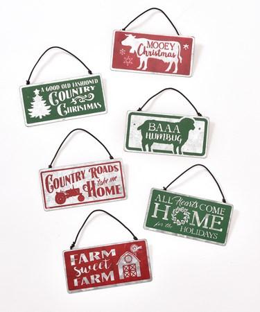Metal Sign Ornaments, 6 Asst.