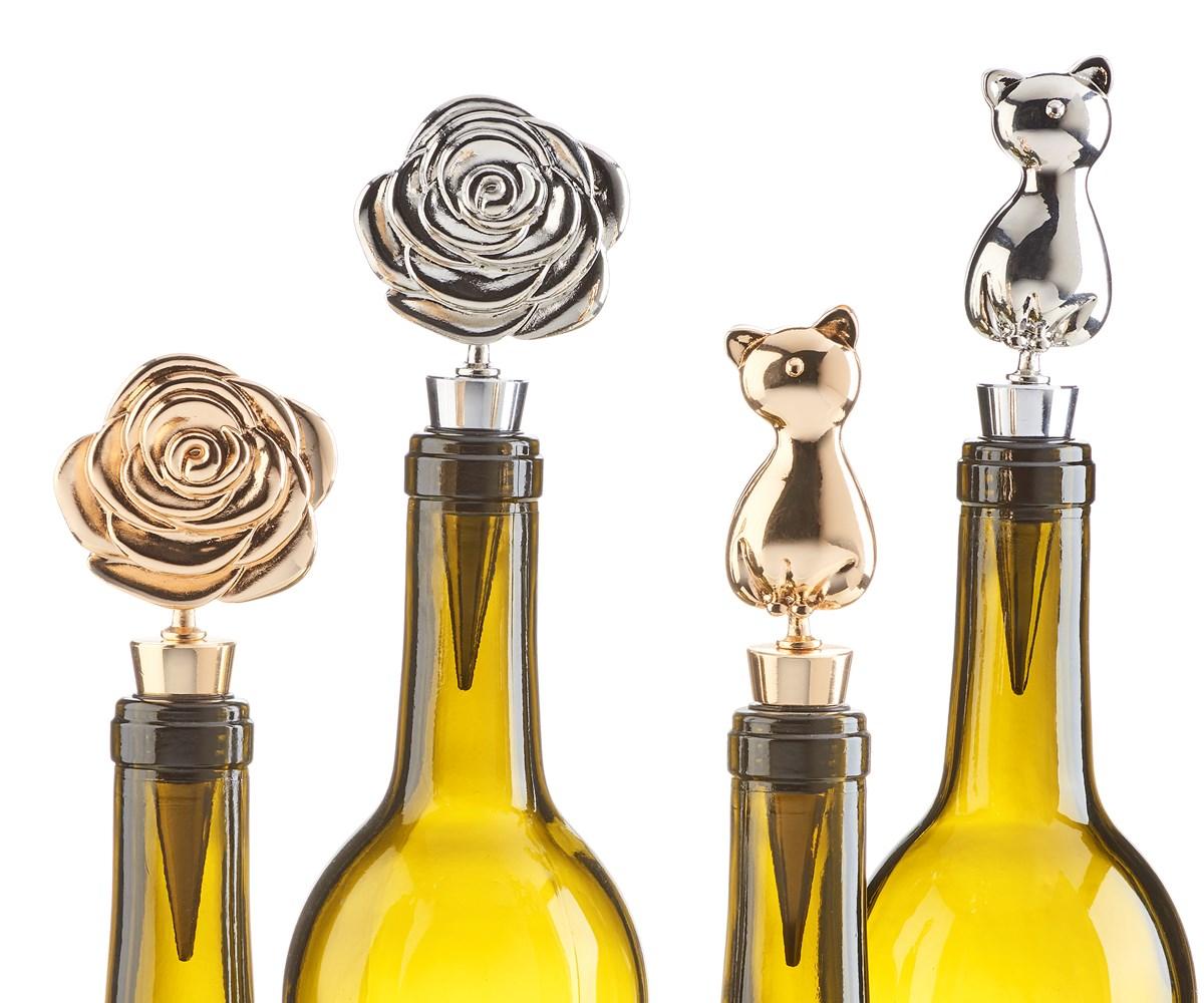 Rose/Cat Design Wine Stopper, 4 Asst w/Displayer