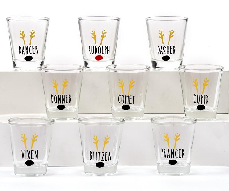 Glass Christmas Shot Glass,Set of 9