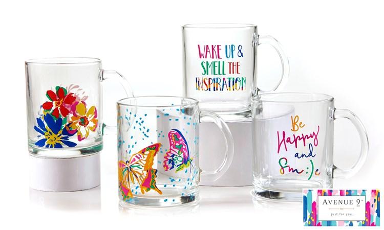 Glass Mug, 4 Asst.