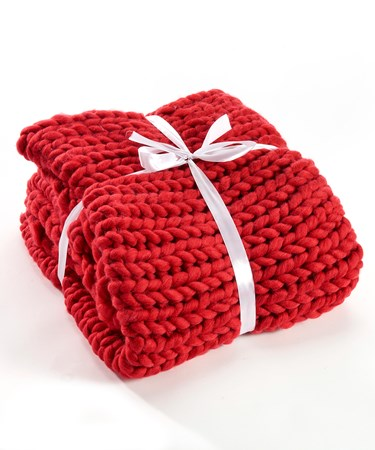 Red Chunky Knit Blanket
