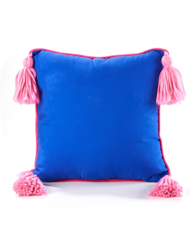 Polyester Square Tasseled Pillow