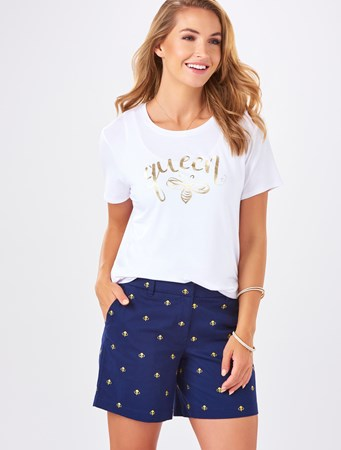 Charlie Paige, Embroidered Bee Shorts, Navy Blue