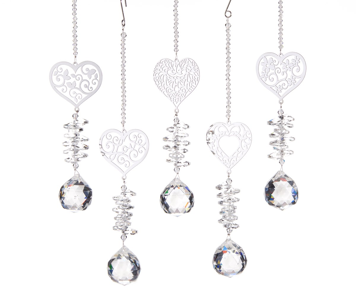 Heart Icon Crystals, 5 Asst. w/Displayer