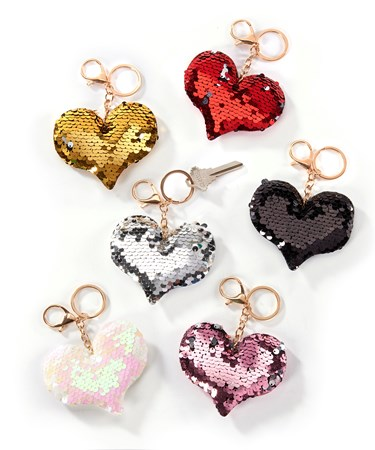 Sequin Keychain, 6 Asst. w/Displayer
