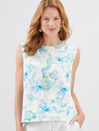 Charlie Paige, Printed Linen Shell Top