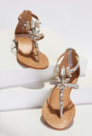 Charlie Paige, Embellished Metallic Leather Sandals, Pack/16