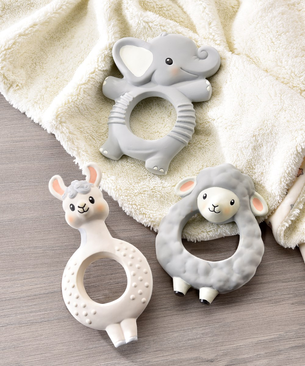 Lil' Llama Characters Natural Rubber Teething Rings, 3 Asst.