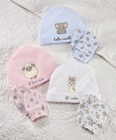 Lil' Llama Cotton Baby Cap & Scratch Mittens 2pc. Set, 3/Asst.