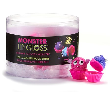 PP Monster Mini Cupcake Lip Gloss, 4 Asst. w/Displayer