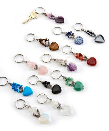 Gemstone Heart Keyring, 12 Asst. w/Displayer