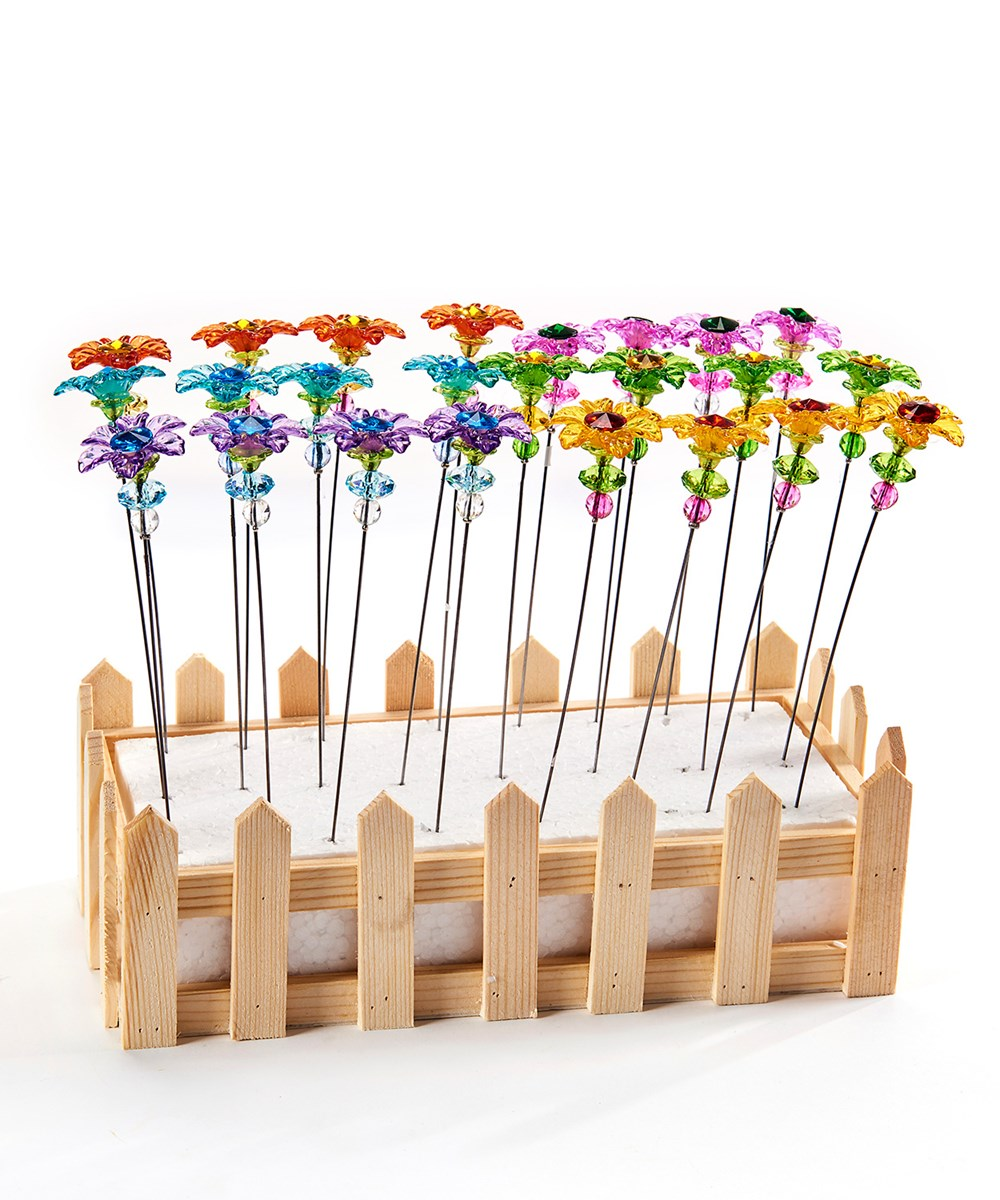 Acrylic Flower Design Garden Pick Asst. w/ Displayer
