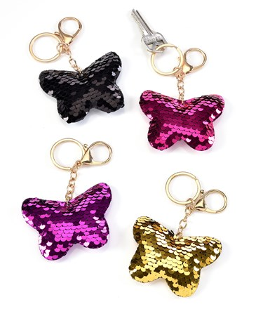 Reversible Sequin Butterfly Keychain, 4 Asst. w/Displayer