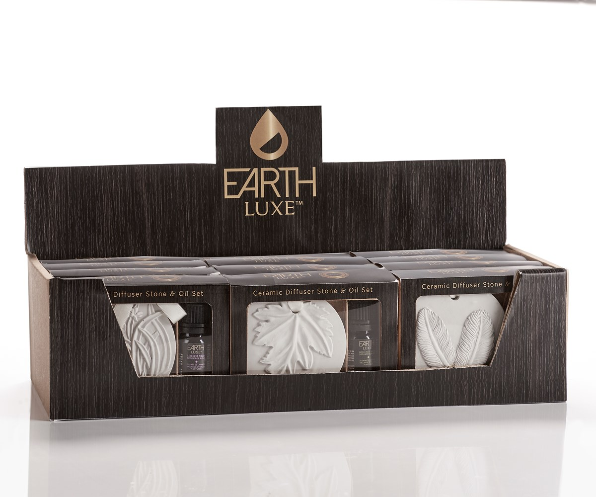 Earth Luxe Ceramic Stone Diffuser & Diffusing Oil Gift Sets,  3 Asst, 12sets/PDQ