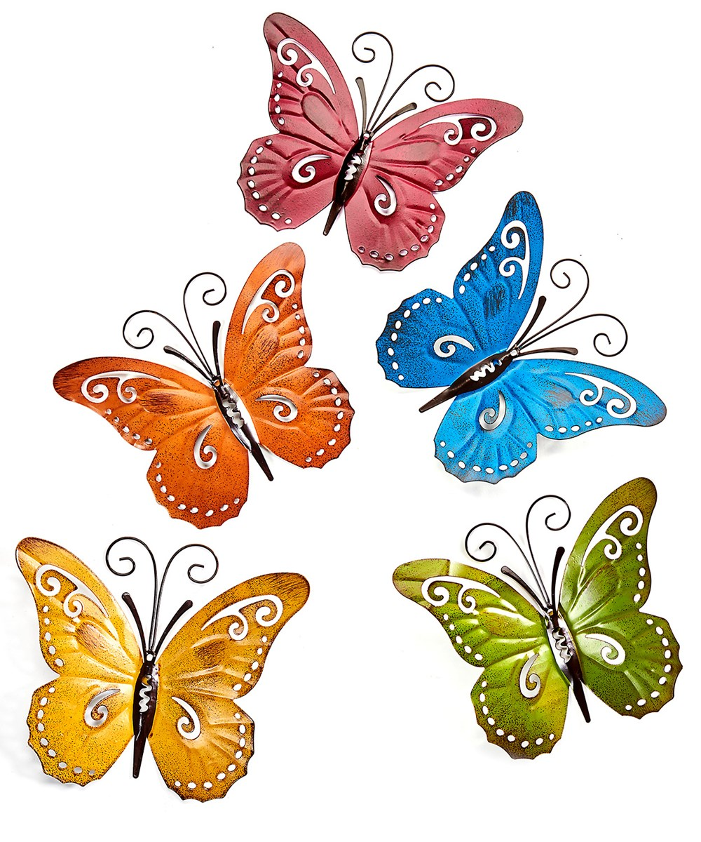 Wrought Iron Butterfly Design Wall Decor, 5/Asst.