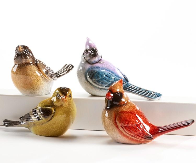Bird Design Figurine, 4/Asst.