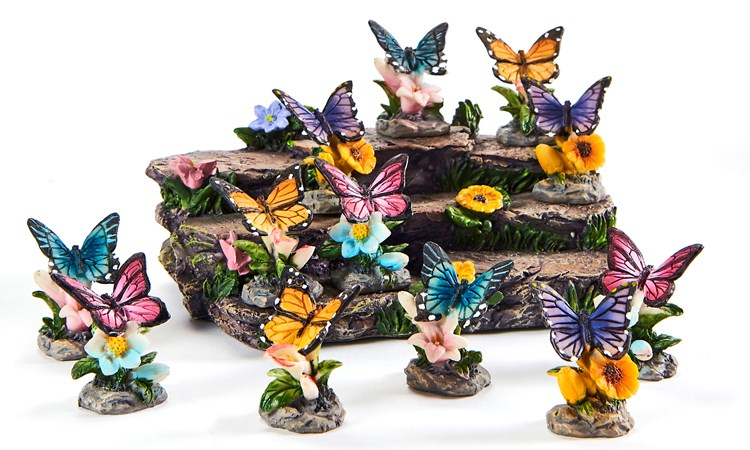 Polystone Butterfly Design Figurines, 12 Asst. w/Displayer