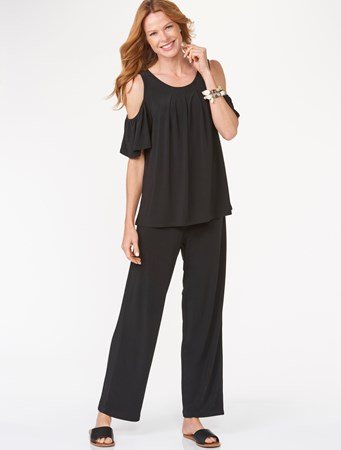 Charlie Paige, Pleated Cold Shoulder Top