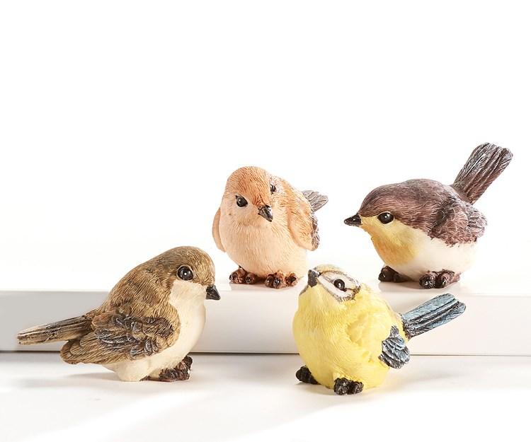 Polystone Bird Design Figurines, 12 Asst. w/Displayer