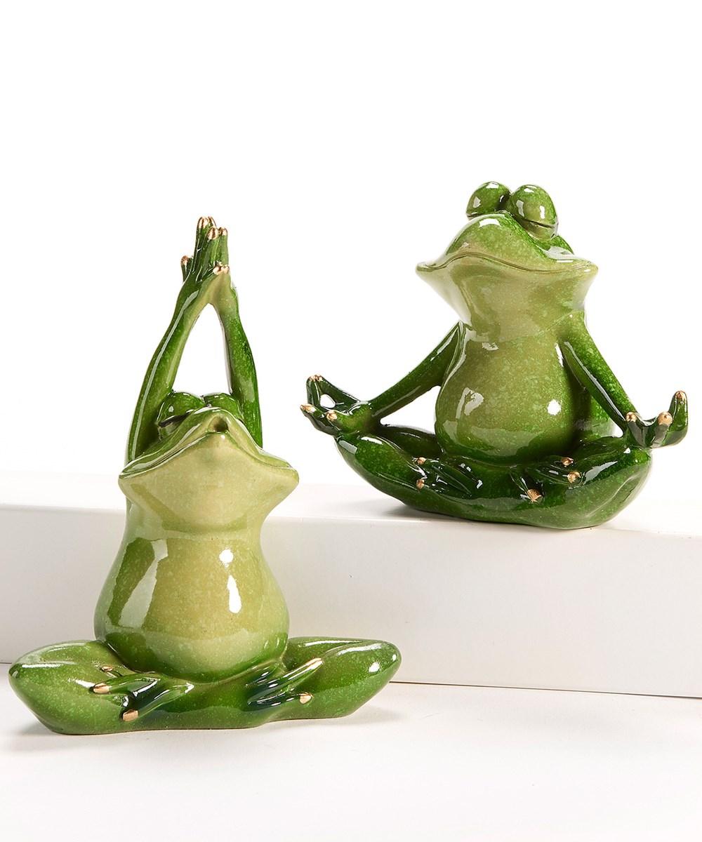 Pond Life Yoga Frog Design Figurines, 2 Asst.