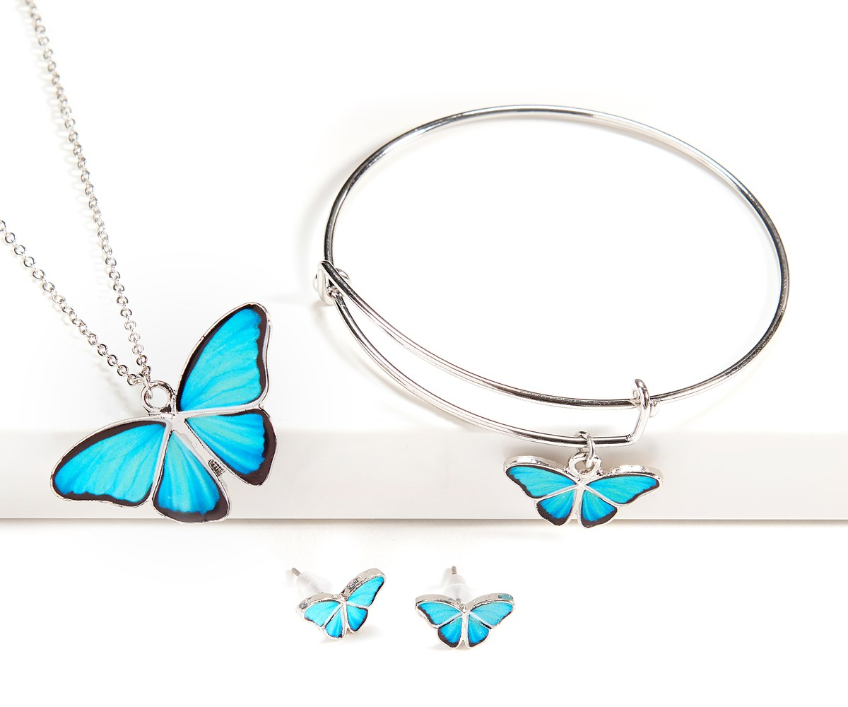 Butterfly Design Jewelry 3 Asst. , 48 Pieces w/Displayer