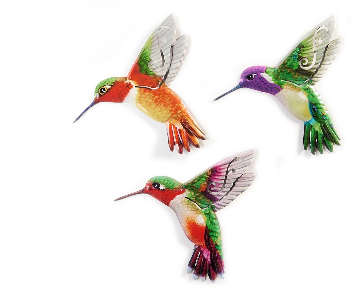 Hummingbird Design Wall Plaques, 3 Asst.