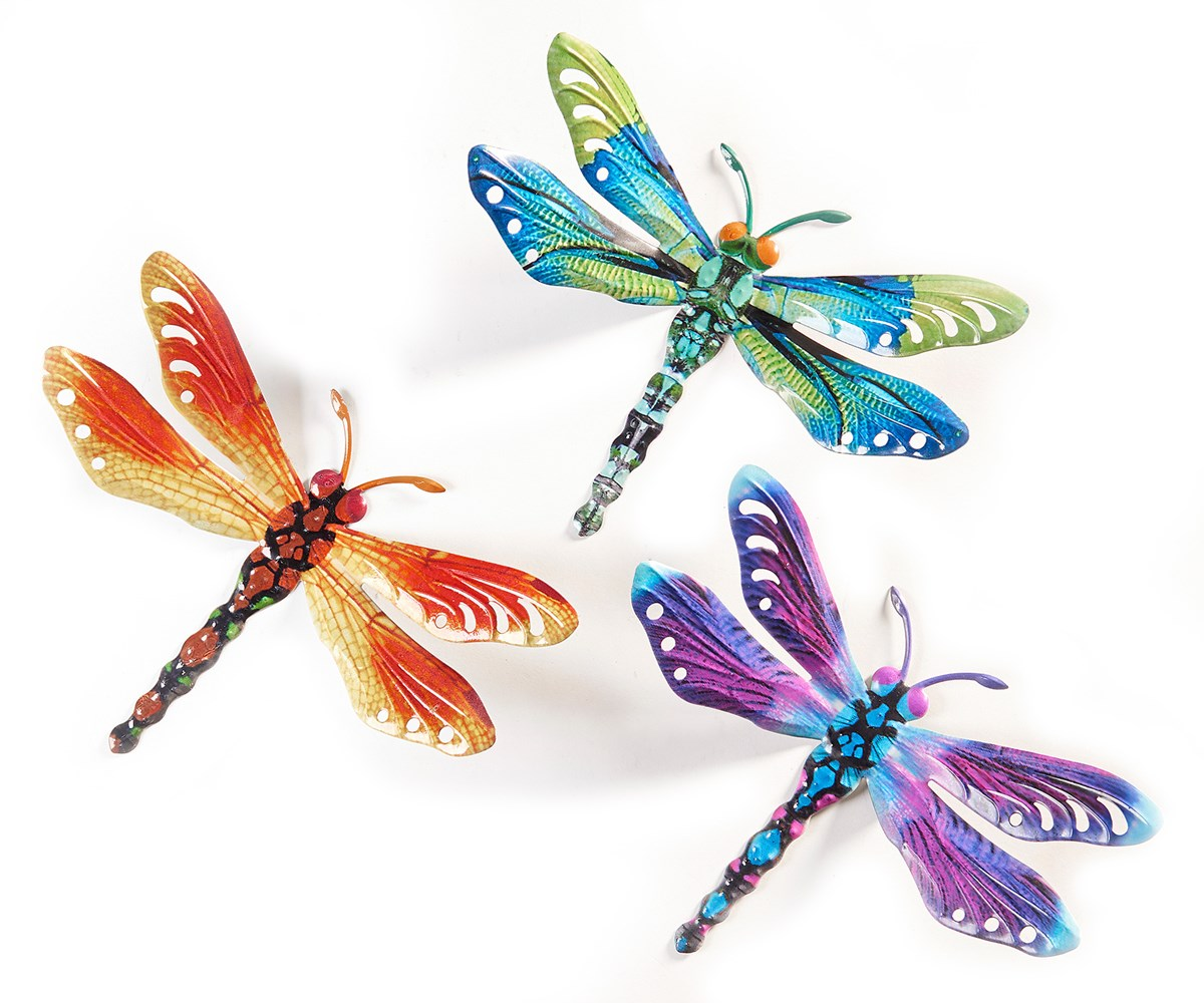 Dragonfly Design Wall Plaques, 3 Asst.