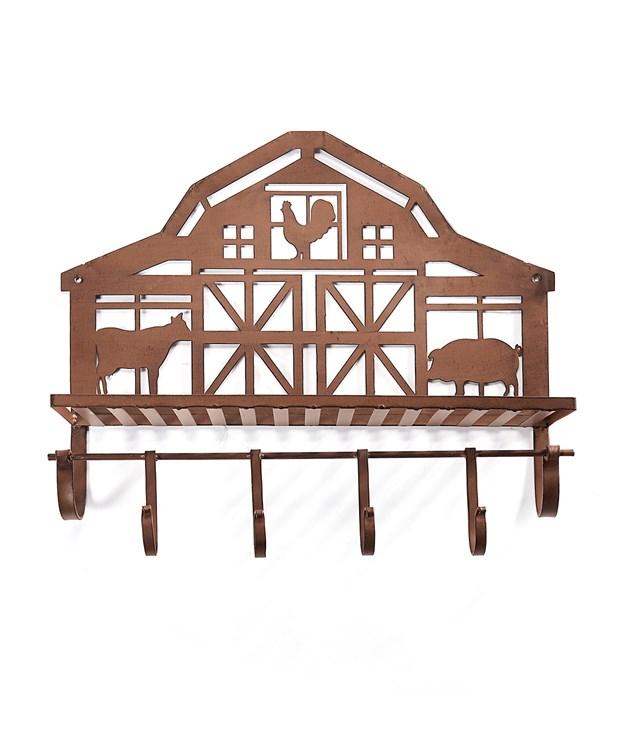 Barn Design Wall Shelf w/Wall Hooks