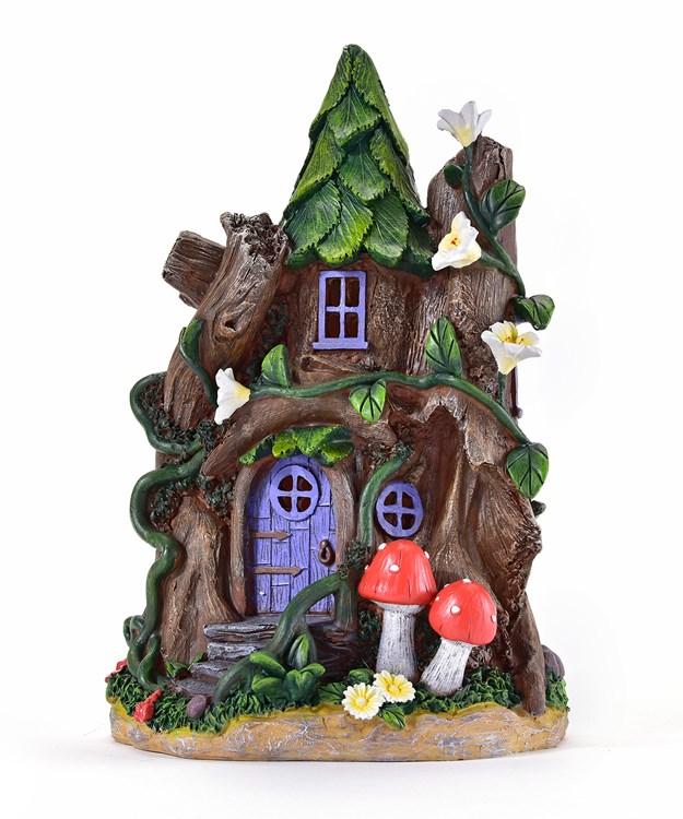 Mini Garden Tree House Design Figurine w/Solar Lights