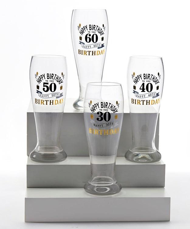 Milestone Beer Glass, 4 Asst.