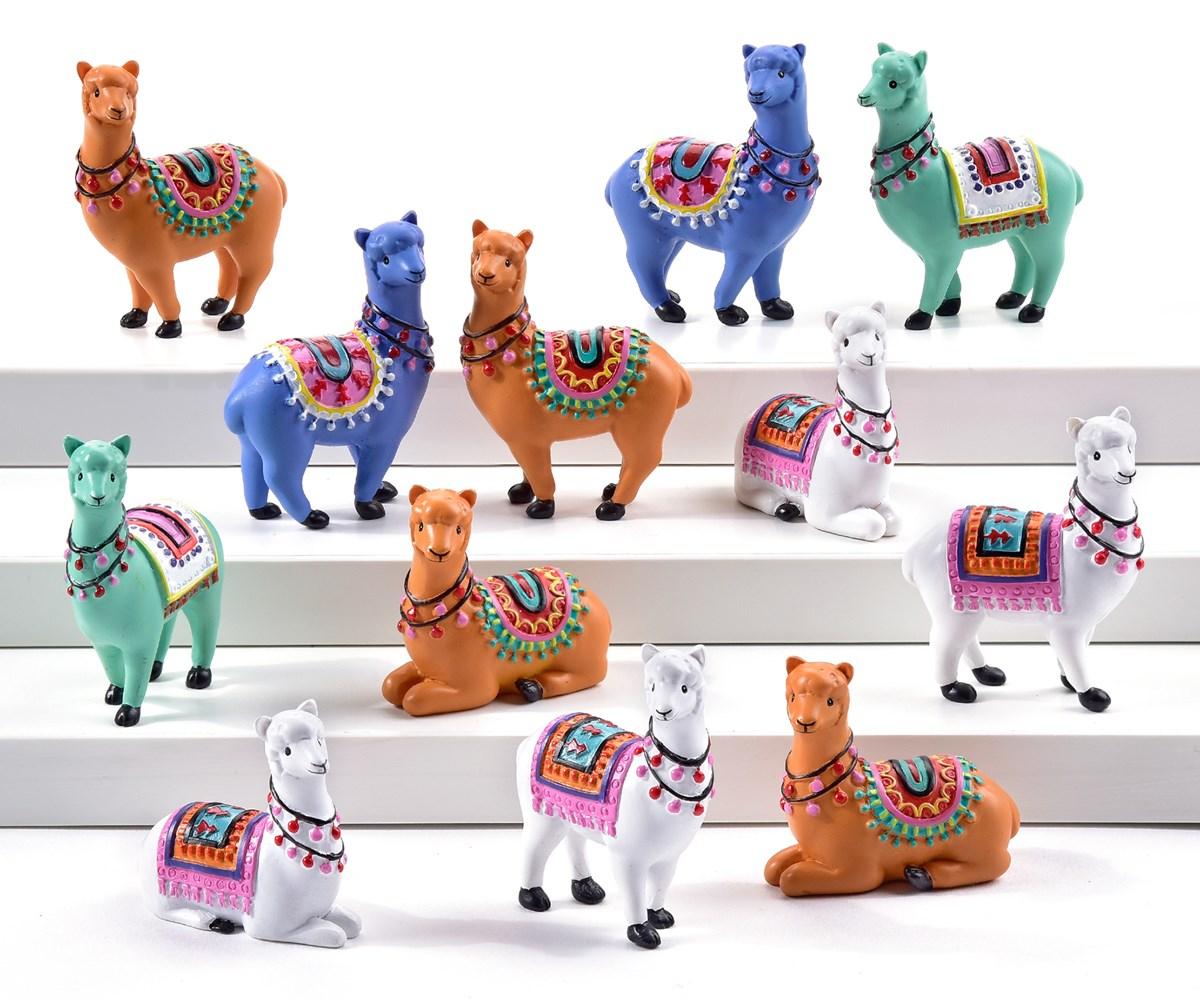 Mini Garden Alpaca Design Figurine, 36 Pieces w/Displayer