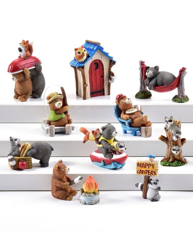 Mini Garden Camper Design Figurines, 50 Pieces w/Displayer