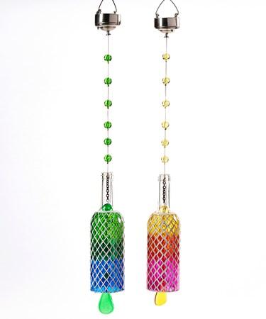 Solar Powered Mosaic Bottle Design Hanging Decor, 2 Asst.