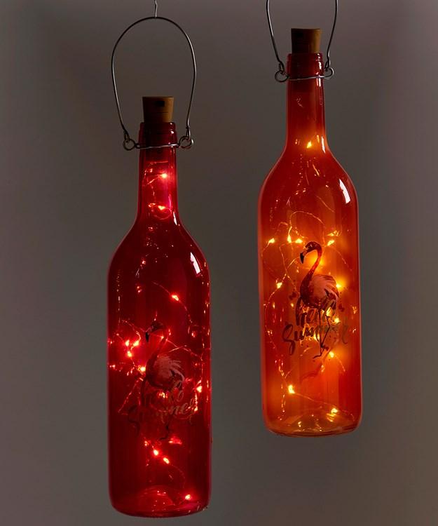 LED Lighted Bottle Design Decor, 2 Asst.