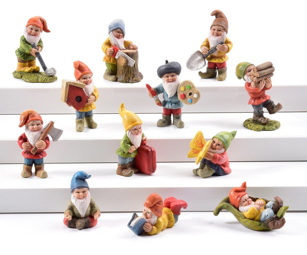 Mini Garden Gnome Design Figurines, 48 Pieces w/Displayer