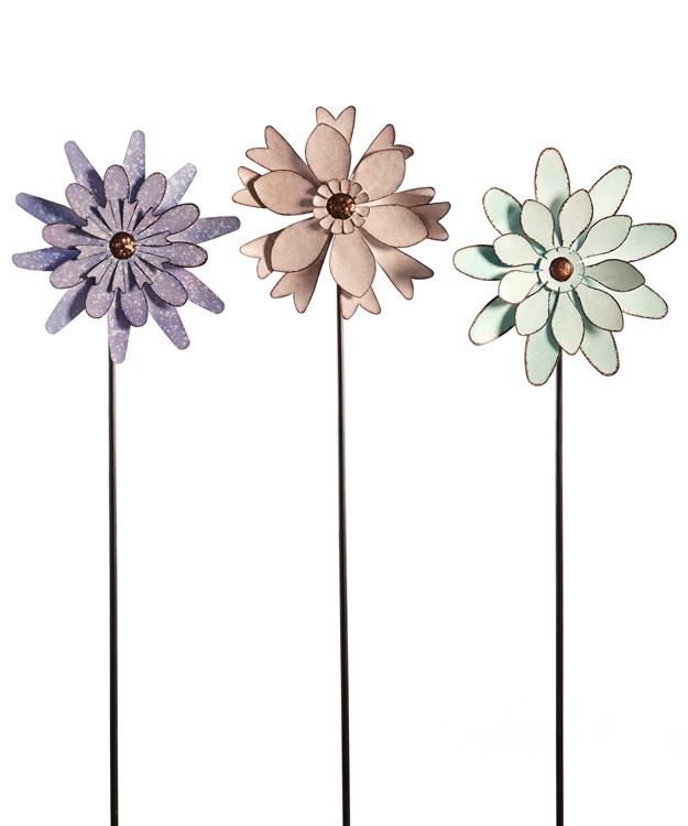 Flower Design Garden Spinner Stakes, 3 Asst.