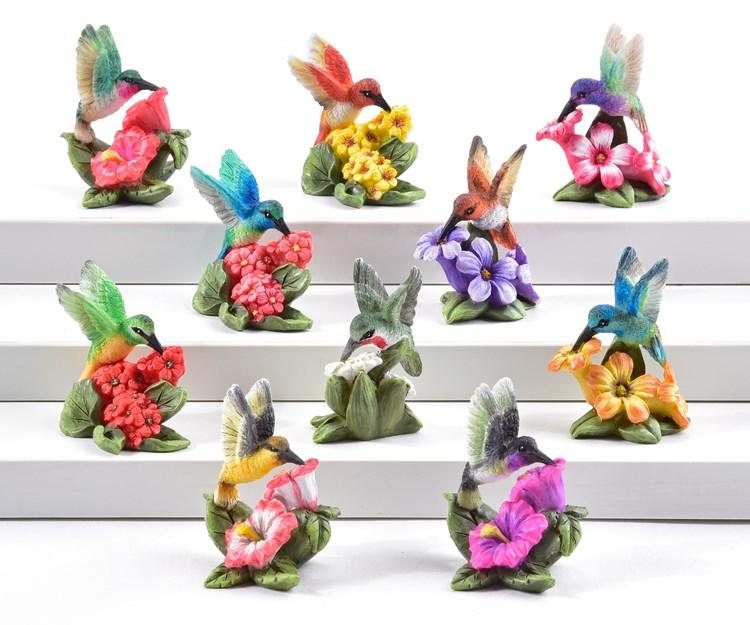 Mini Garden Hummingbird Design Figurines, 48 Pieces w/Displayer